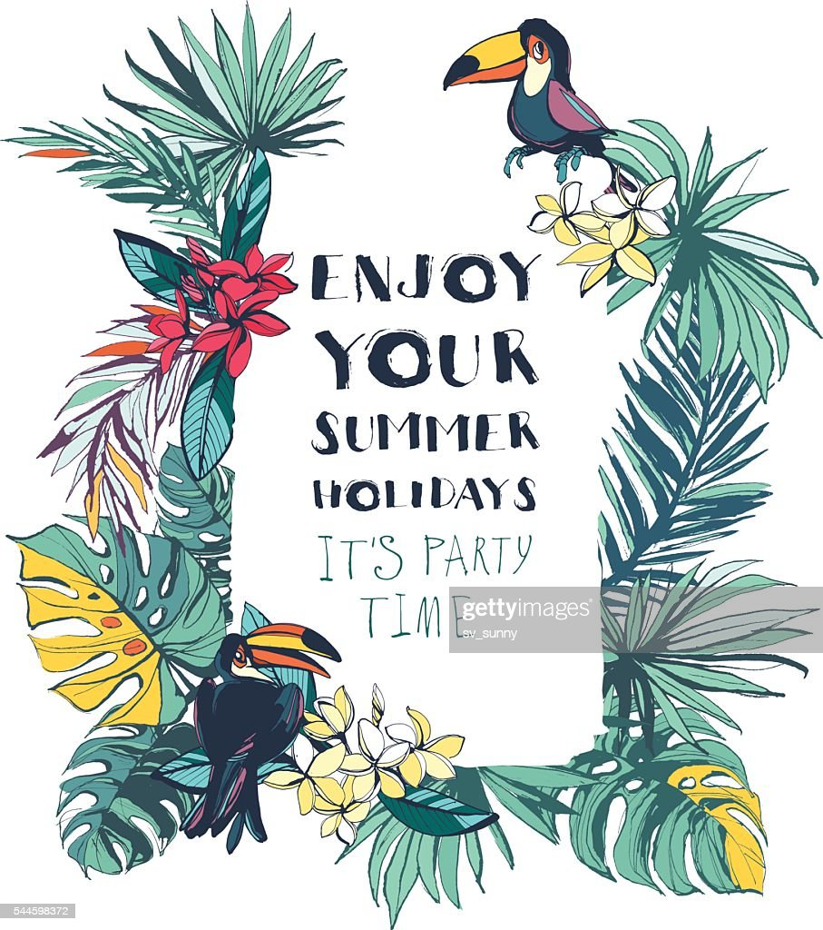 Tropical floral summer beach party invitation with palm leaves,
