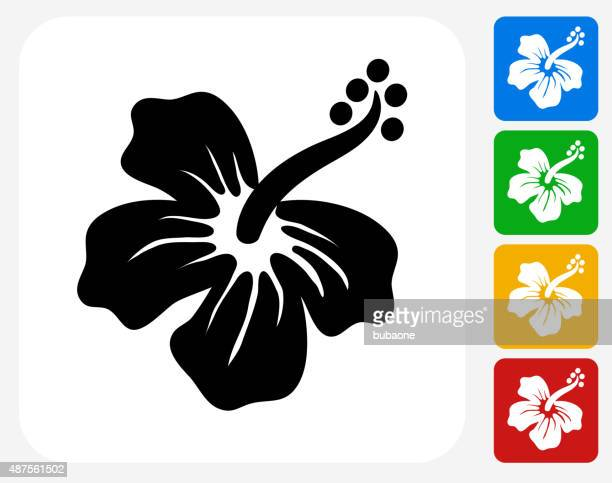 Tropical Flower Icon Flat Graphic Design