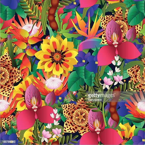 tropical flower seamless pattern