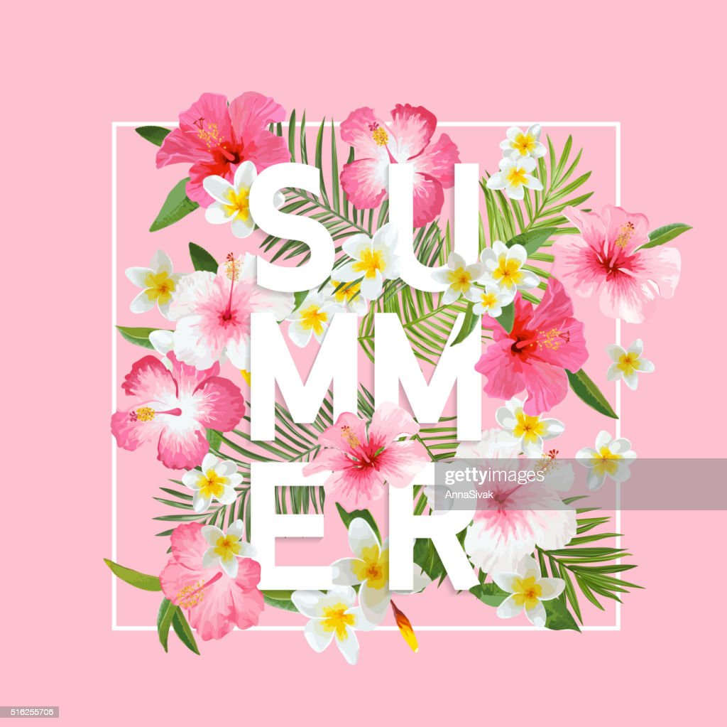 Tropical Flowers and Leaves Background. Summer Design. Vector. T-shirt Fashion