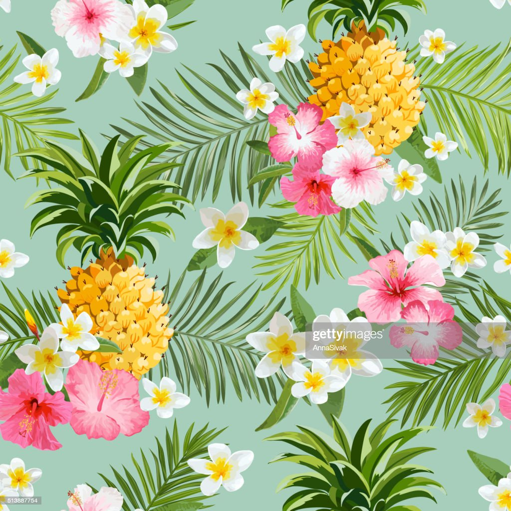 Tropical Flowers and Pineapples Background - Vintage Seamless Pattern