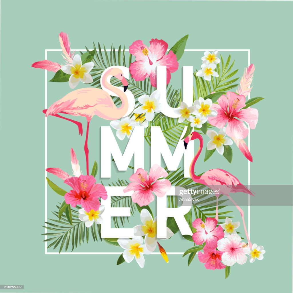 Tropical Flowers Background. Summer Design. Vector. Flamingo Background
