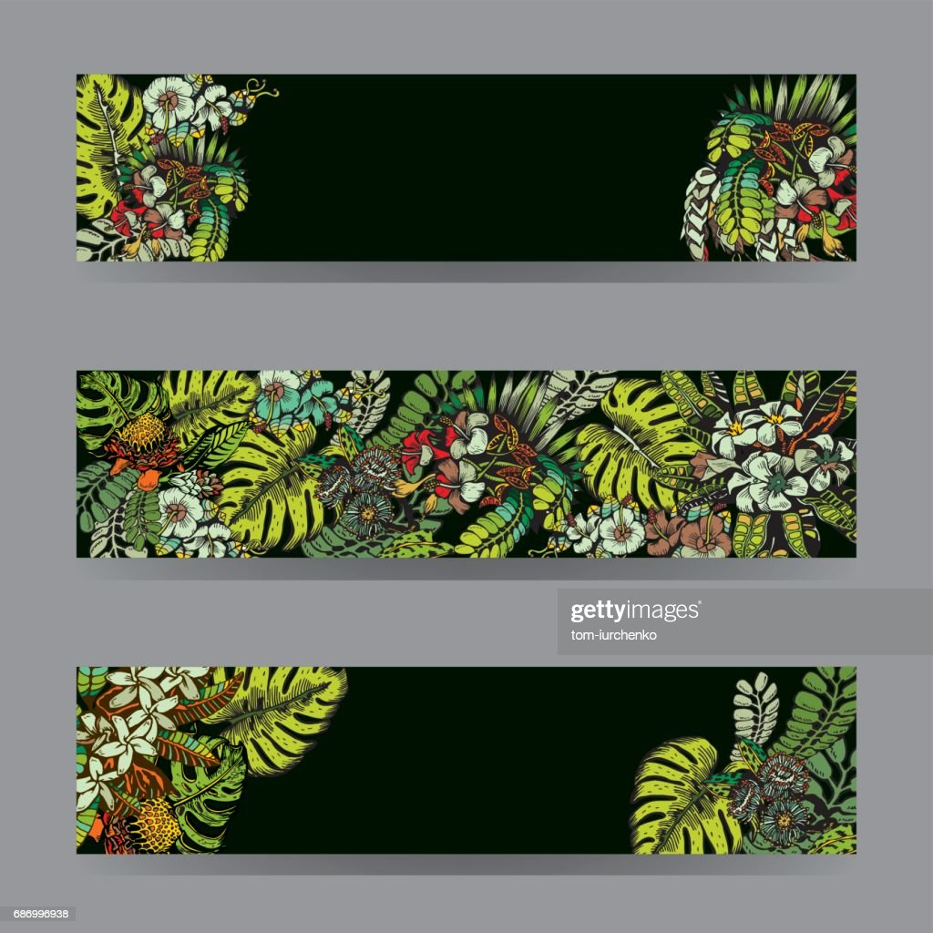 Tropical Flowers Background Vector Cards Notes And Banners With
