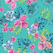tropical flowers pattern