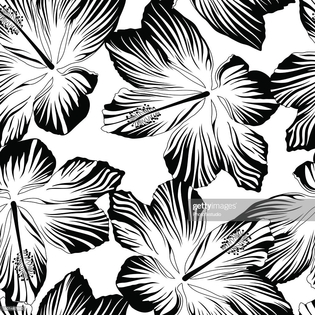Tropical Flowers Seamless Pattern In Black And White Vector Art