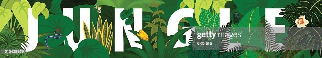 Tropical foliage. Floral design background.vector jungle rainforest banner