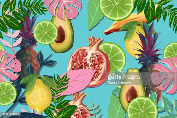 tropical fruit and leaves background - tropical fruit stock illustrations