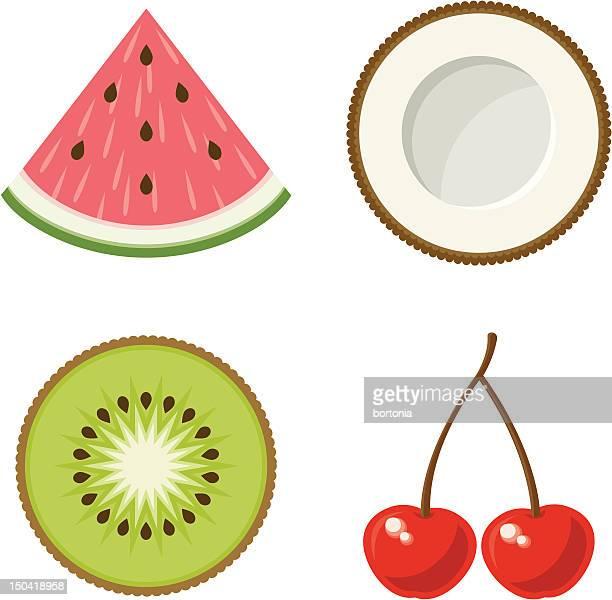 ilustrações de stock, clip art, desenhos animados e ícones de ícones de frutas tropicais - fruta kiwi