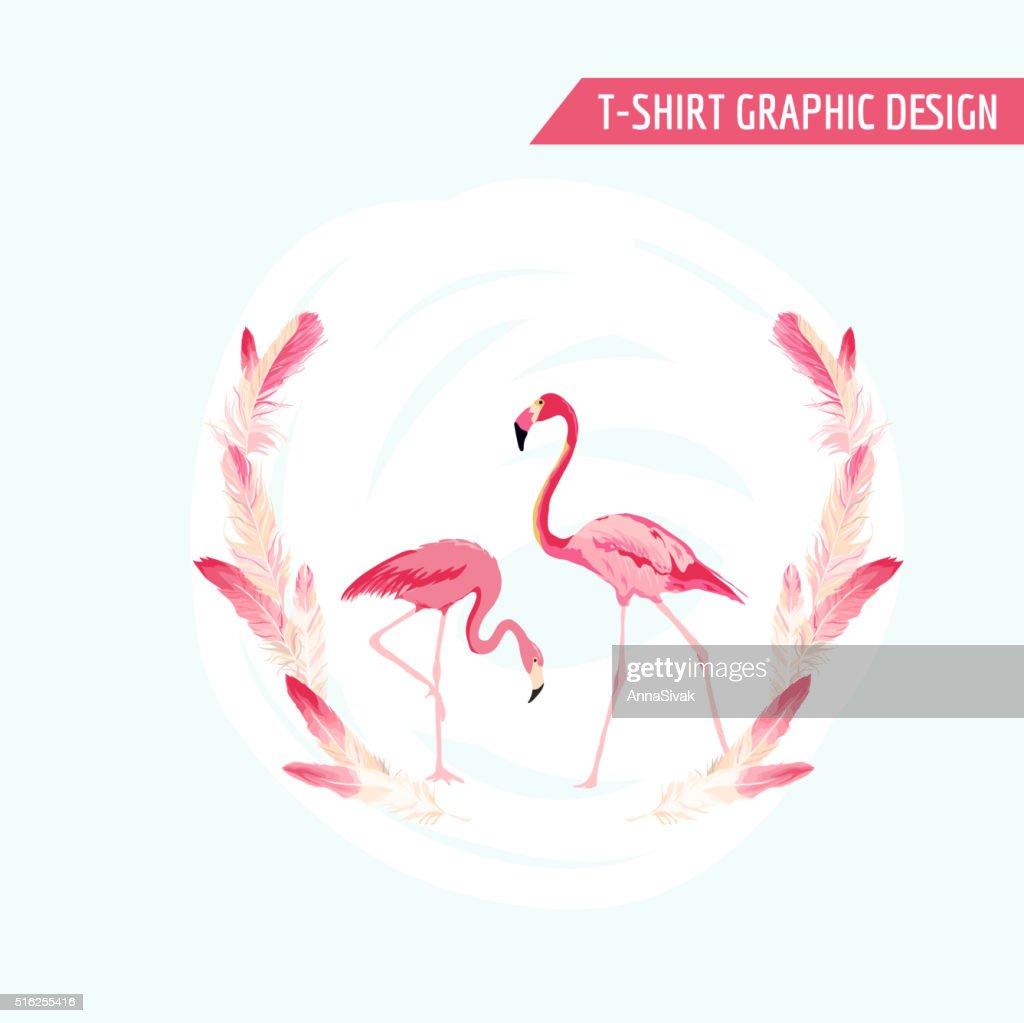 Tropical Graphic Design. Flamingo Birds. Tropical Background. T-shirt Design