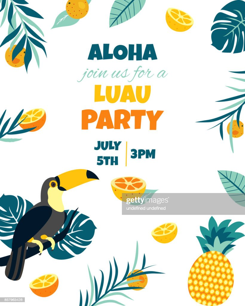 Tropical Hawaiian Poster with toucan. Party template. Invitation, banner, card.