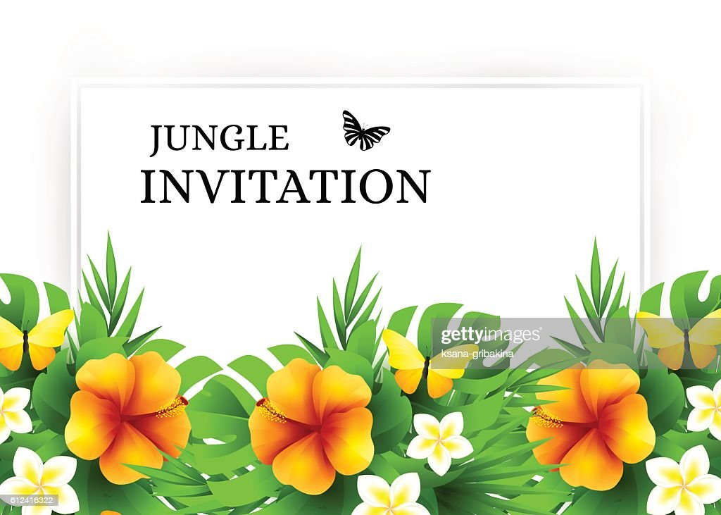 Tropical invitation background with exotic flower and yellow but tropical invitation background with exotic flower and yellow but vector art stopboris Choice Image