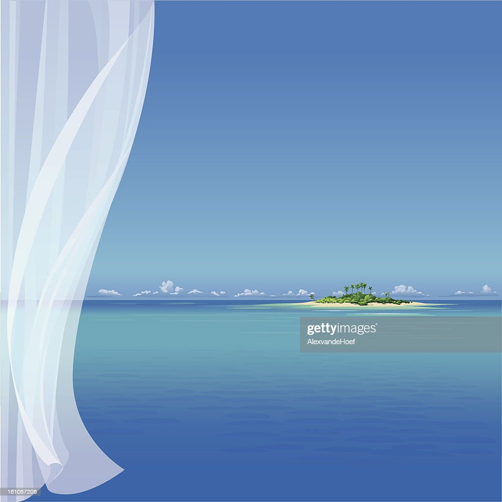 Tropical Island and transparent Curtain : Vector Art