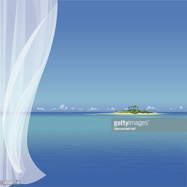 Tropical Island and transparent Curtain