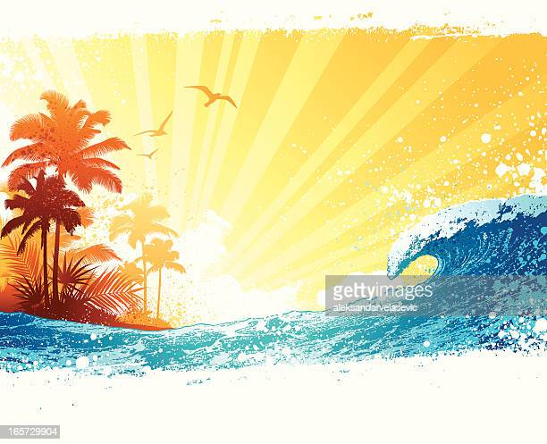tropical island background - coconut leaf stock illustrations, clip art, cartoons, & icons