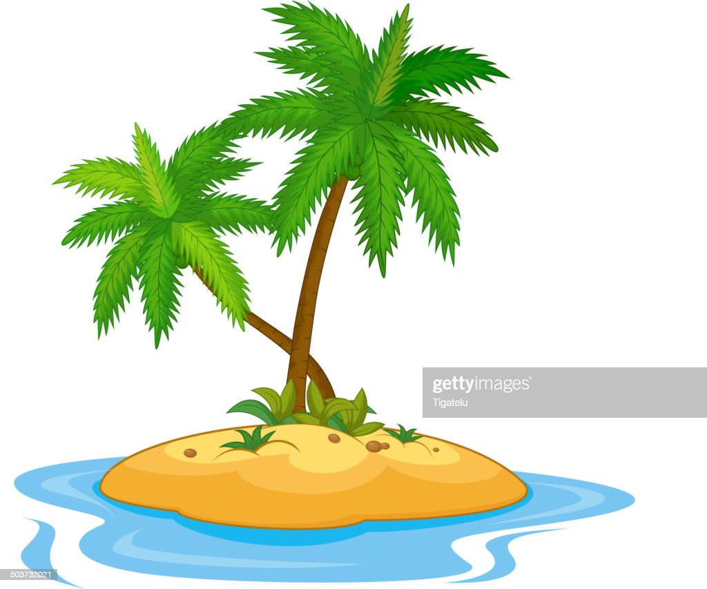 Tropical island cartoon