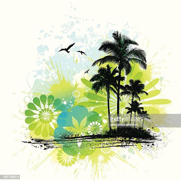 tropical island grunge - coconut palm tree stock illustrations, clip art, cartoons, & icons