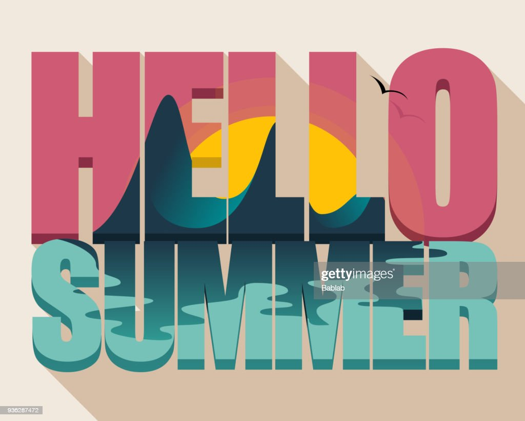 Tropical island in text Hello Summer
