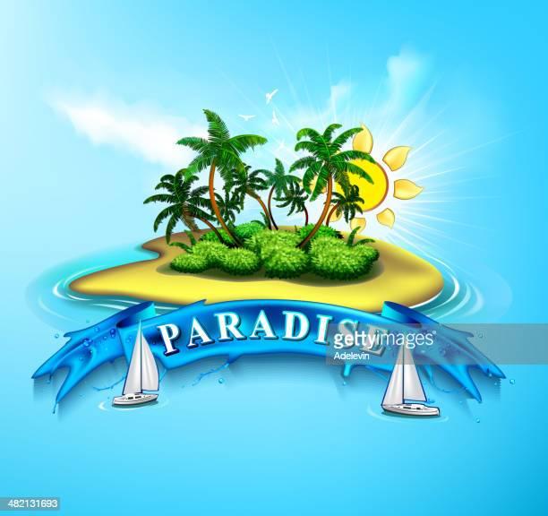 illustrations, cliparts, dessins animés et icônes de paradis tropical île - île