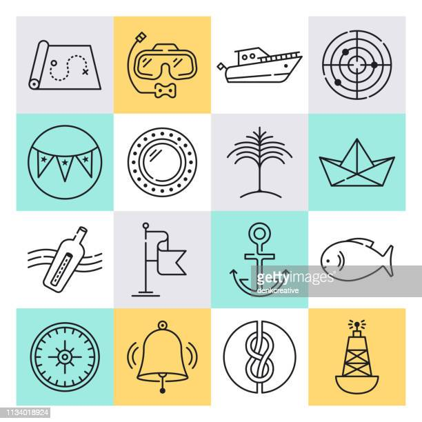 tropical island resorts outline style vector icon set - seascape stock illustrations