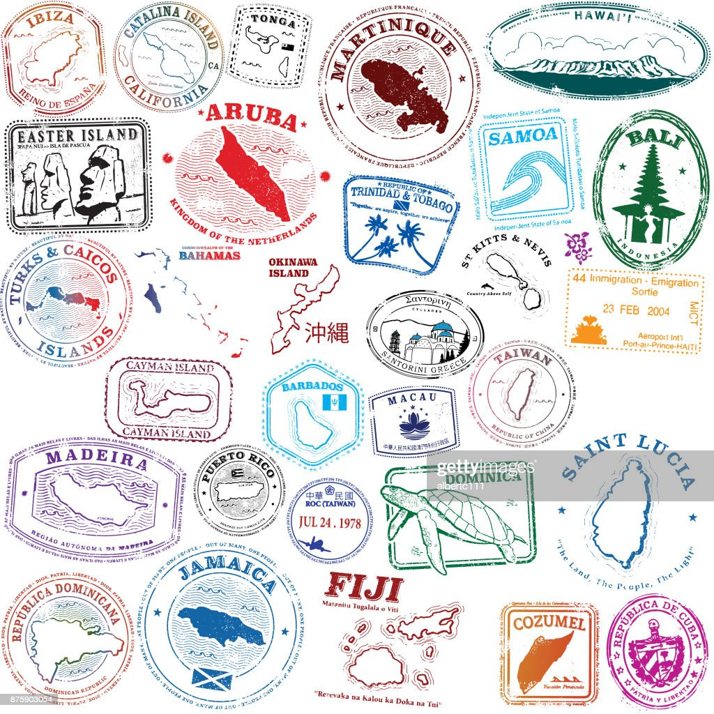 Tropical Island Stamps : Stock Illustration