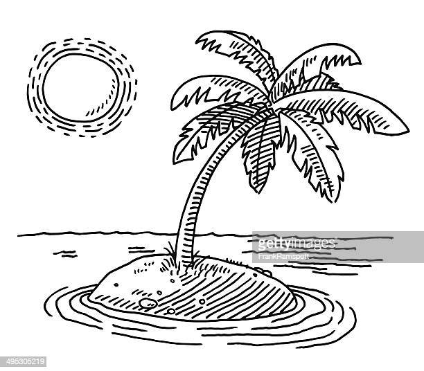 tropische insel sunshine zeichnung - insel stock-grafiken, -clipart, -cartoons und -symbole
