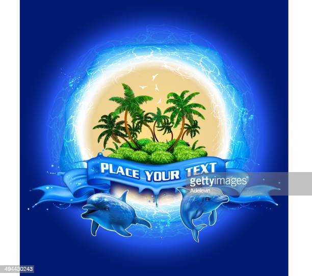 tropical  island surrounded by the sea - coconut palm tree stock illustrations, clip art, cartoons, & icons