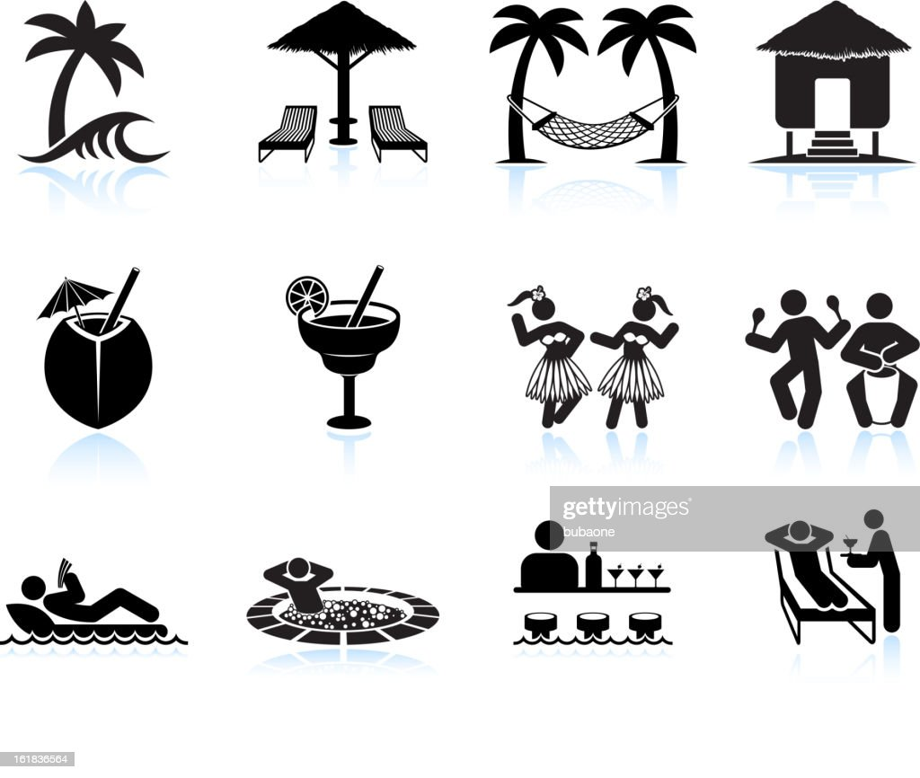 Tropical island vacation black and white icon set : stock illustration