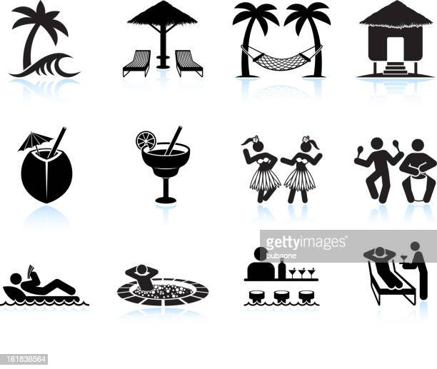 Tropical island vacation black and white icon set