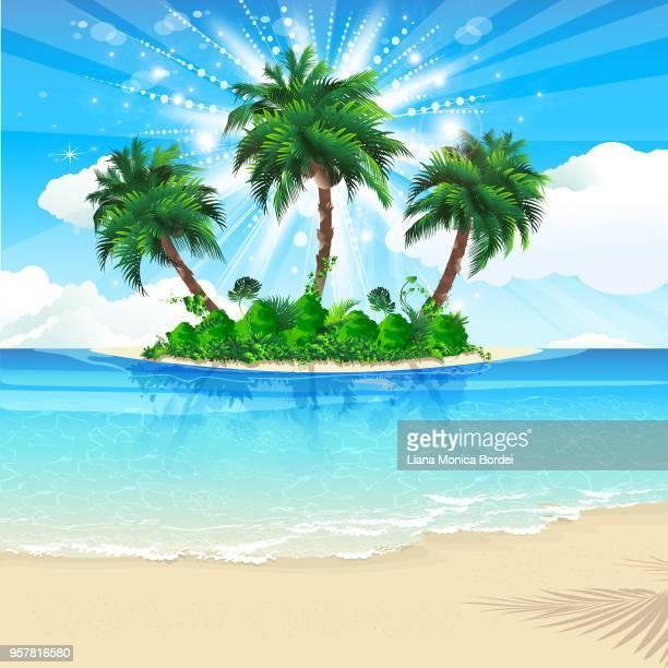 tropical island - coconut palm tree stock illustrations, clip art, cartoons, & icons