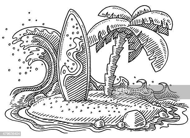 Tropical Island Wave Surfboard Palm Tree Drawing