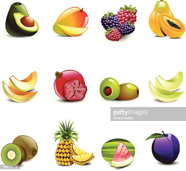 tropical juicy fruits - mango fruit stock illustrations, clip art, cartoons, & icons
