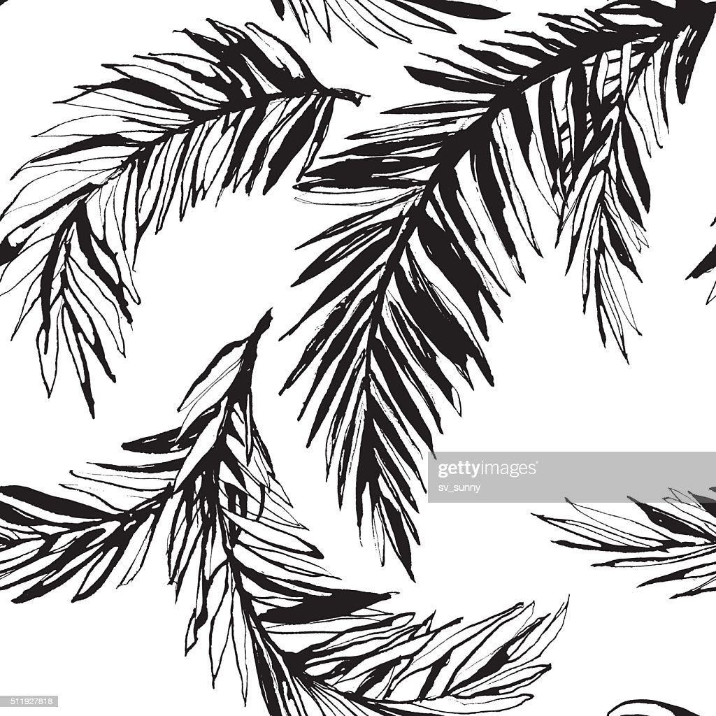 Tropical jungle floral seamless  pattern background with palm