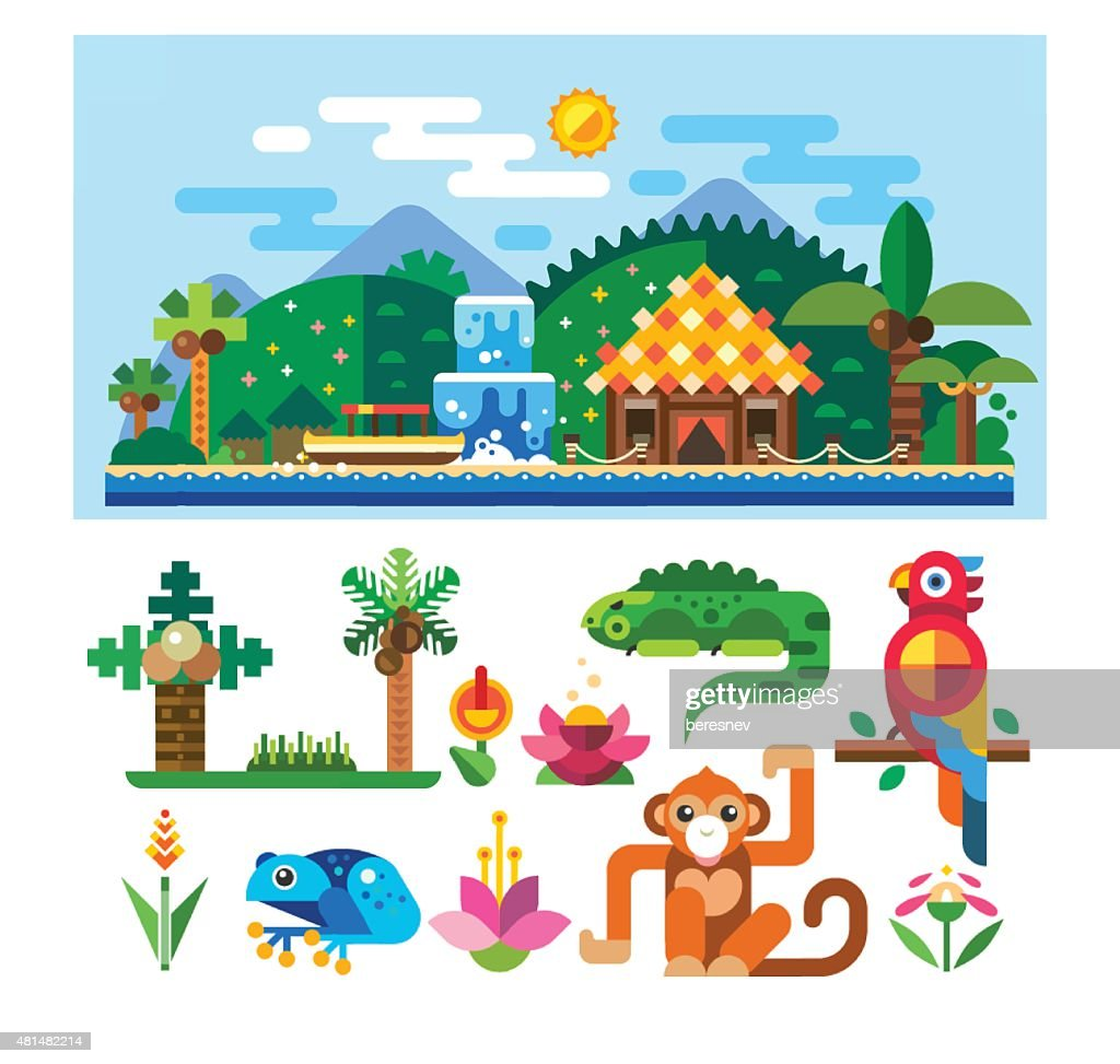 Tropical landscape and animals