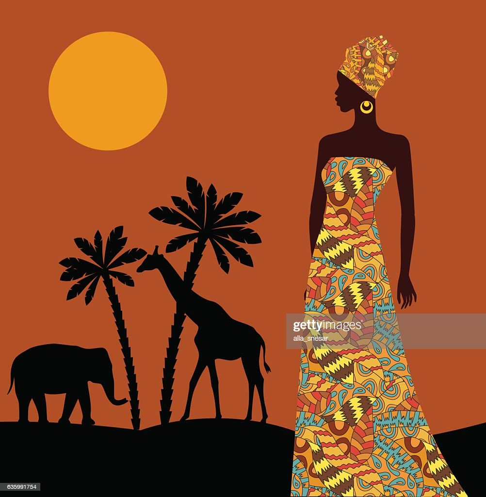 Tropical landscape. Beautiful black woman.