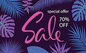 tropical leaf and flowers border frame sale banner background