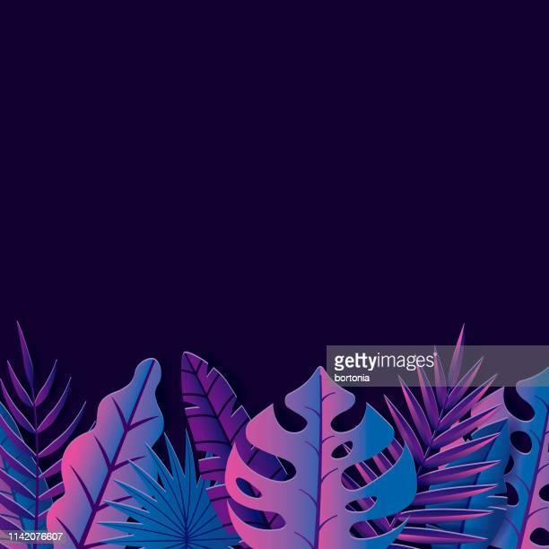 stockillustraties, clipart, cartoons en iconen met tropisch bladachtergrond - fluorescerende