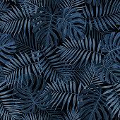 Tropical Leaf Pattern in Dark Indigo Blue