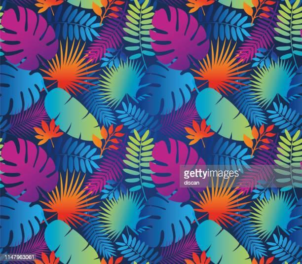 ダークインディゴブルーのトロピカルリーフシームレスパターン。 - 伝統的な祭り点のイラスト素材/クリップアート素材/マンガ素材/アイコン素材