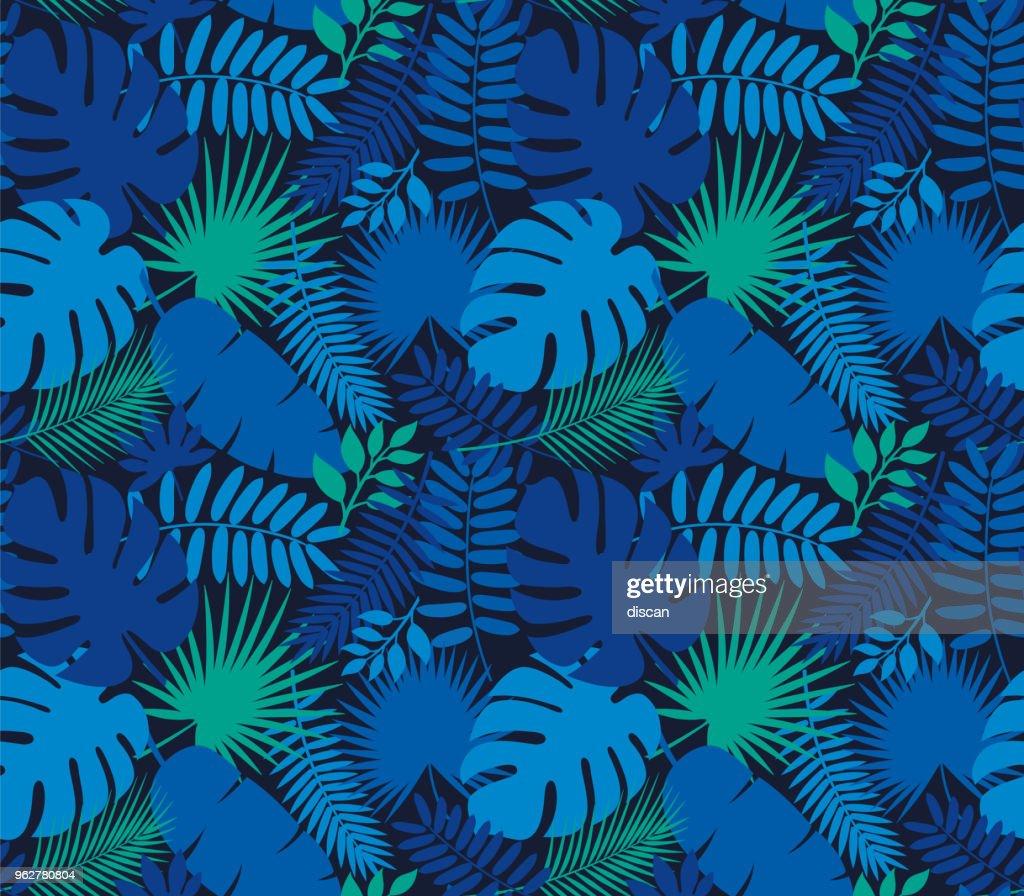 Tropical Leaf Seamless Pattern in Dark Indigo Blue : stock illustration