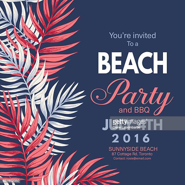 tropical leaves background beach party invitation - leaving stock illustrations