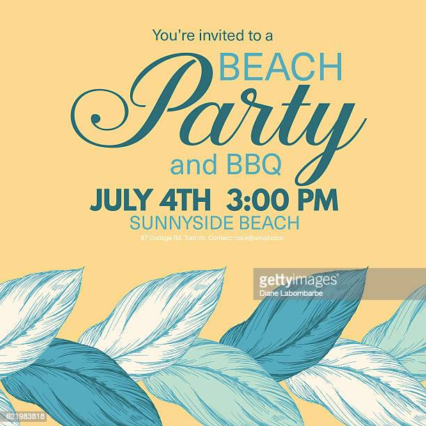 Tropical Leaves Background Beach Party Invitation
