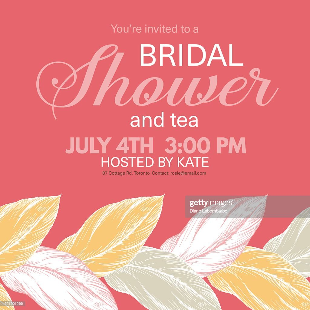Tropical Leaves Background Bridal Shower Invitation Vector Art ...