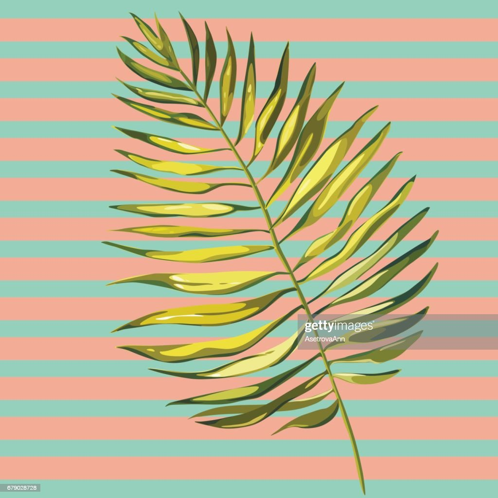 Tropical leaves. Beautiful vector floral pattern background, exotic print. EPS 10