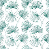 Tropical leaves, jungle pattern. Seamless, detailed, botanical pattern. Vector background. Palm leaves