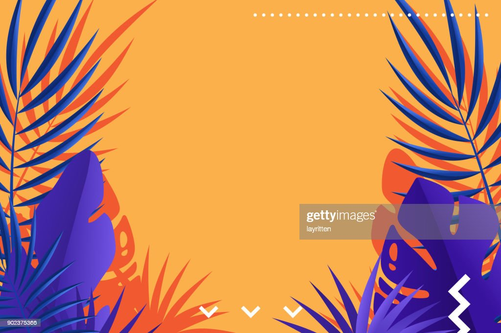 Tropical leaves of palm retro background design