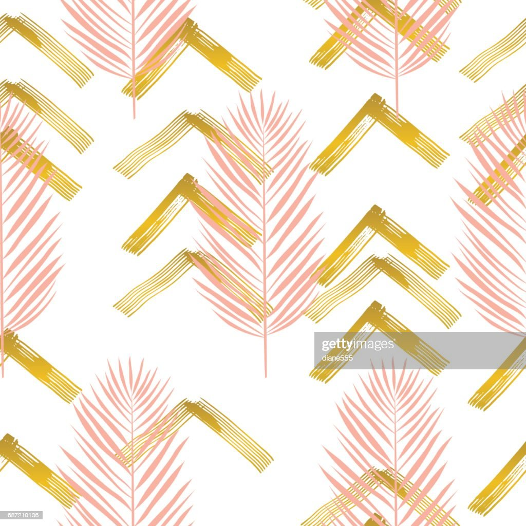 Tropische Blätter Muster mit Pinselstrichen und Gold : Stock-Illustration