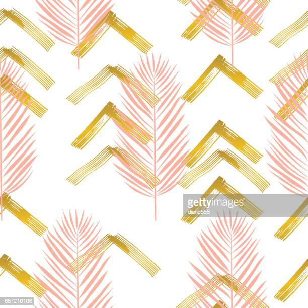 Tropical Leaves Pattern With Brush Strokes and Gold