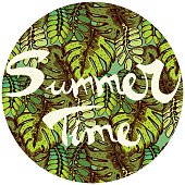 """Tropical Leaves Pattern with Text """"Summer Time"""""""