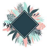 Tropical leaves. Vector  rhombus frame in scandinavian style. Hand drawn background. Poster in pink and blue colors with place for text.