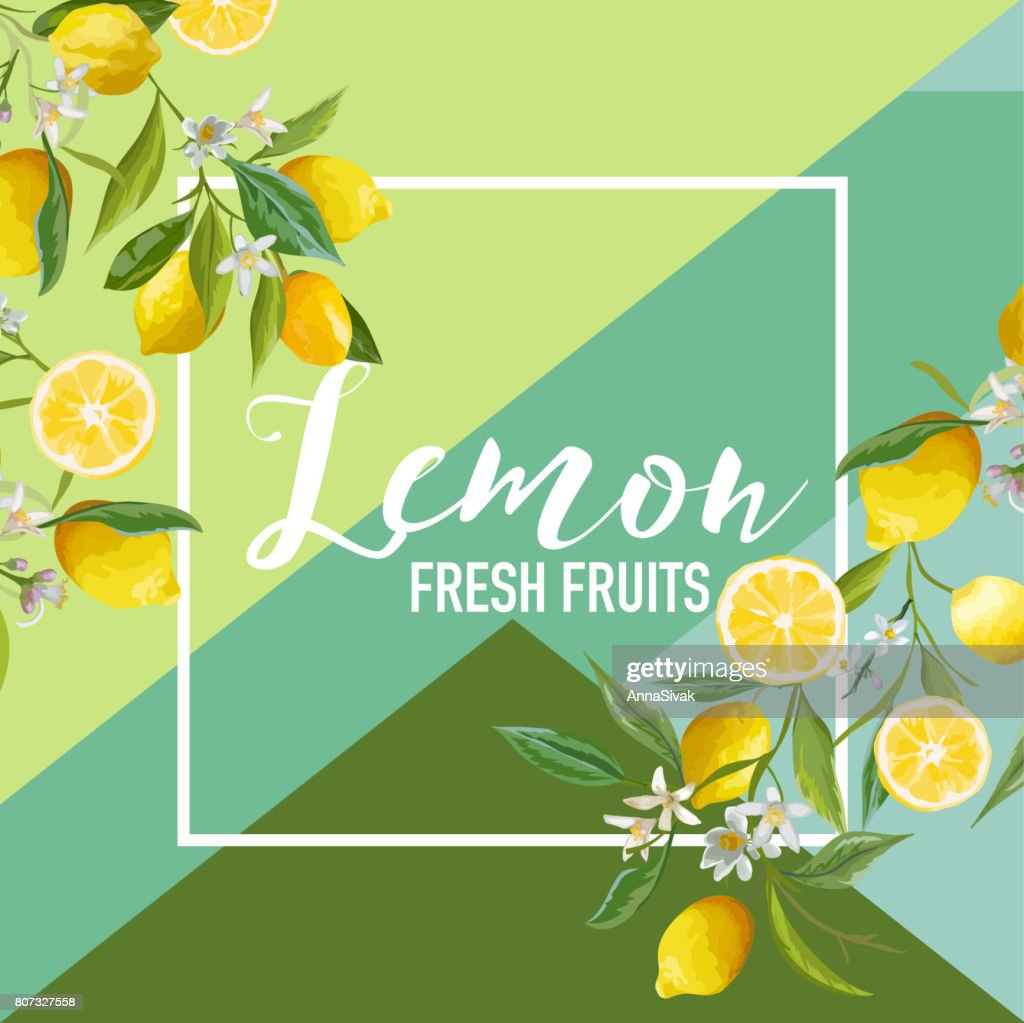 Tropical Lemon Fruits and Flowers Summer Banner, Graphic Background, Exotic Floral Invitation, Flyer or Card. Modern Front Page in Vector